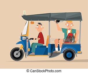 Vector illustration of an auto rickshaw tourist taxi (tuk-tuk) in Thailand
