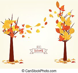 Vector Illustration of an Autumn Design. Autumn tree background