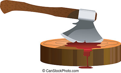 vector illustration of an ax and a slaughterhouse