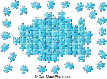 unfinished puzzle - vector illustration of an blue ...