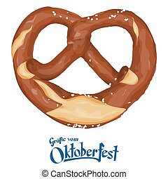brown bavarian pretzel - vector illustration of an brown...