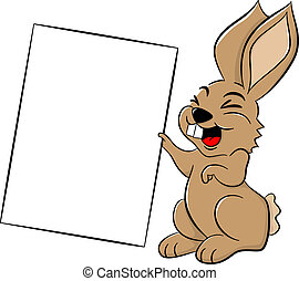 easter bunny holding a sign in hand