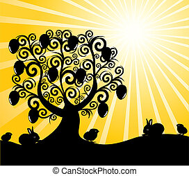 vector illustration of an Easter tree on sunny background