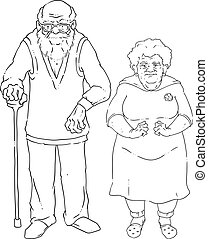 Vector illustration of an elderly couple. An old man with glasses and a cane, an old woman with arthrosis of hands.