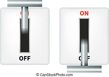 Vector illustration of an electric knife switch. Isolated on...