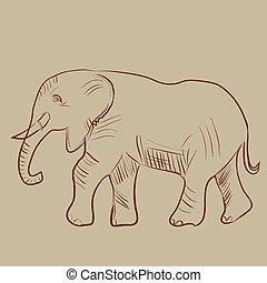 Vector illustration of an elephant.