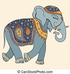 Vector illustration of an elephant. Indian style