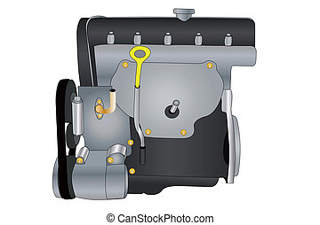engine - Vector illustration of an engine under the white ...
