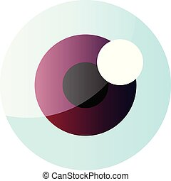 Vector illustration of an eyeball with purple iris on white background