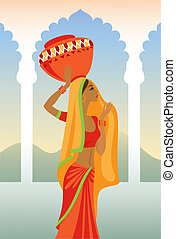 Vector  illustration of an Indian woman carries a jug on her hea