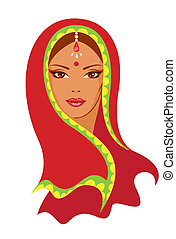 Vector  illustration of an Indian woman
