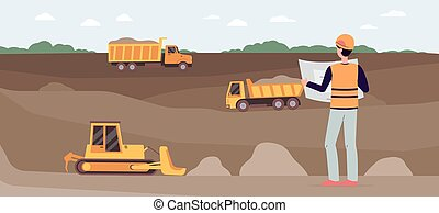 Vector illustration of an industrial quarry with a worker and heavy machinery.