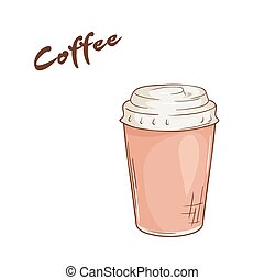 vector illustration of an isolated cartoon hand drawn fast food. Coffee in closed paper cup
