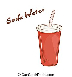 vector illustration of an isolated cartoon hand drawn fast food. Soda water in closed paper cup with a straw.