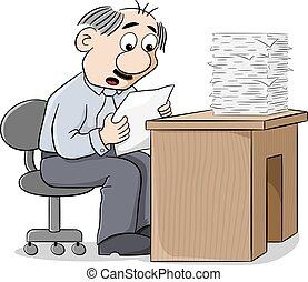 office worker reads a letter dismayed at the news