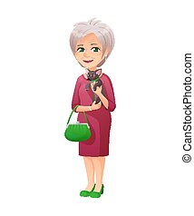 vector illustration of an old active lady with small bag, who is dressed in a elegant dress. She is holds a small dog