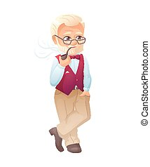 vector illustration of an old active man with glasses, mustache and beard, who is dressed in a elegant vest. He is standing and smoking tobacco pipe.
