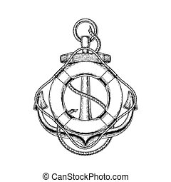 Vector illustration of an old nautical anchor and life buoy