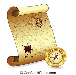 scroll paper with a compass