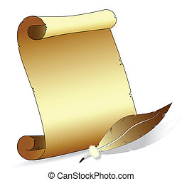 Vector illustration of an old scroll paper with a feather pen isolated on withe background