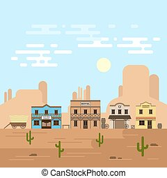 Vector illustration of an old western town in a daytime. Saloon, hotel and other detailed buildings and objects. Wild West desert landscape background.