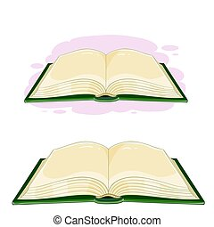 Vector illustration of an open book in cartoon style. Emblem...