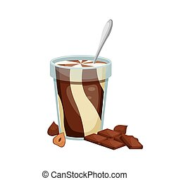 Vector illustration of an open jar of chocolate paste with a spoon inside. Sweet snack. Chocolate-nut paste.