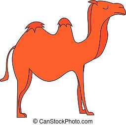 Vector illustration of an orange camel on white background.