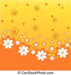 vector illustration of an orange background with daisies and butterflies.