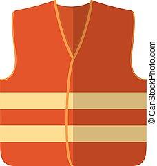 Vector illustration of an orange safety vest road worker, builder. Protective working clothes, orange vest. Flat style safety on a white background