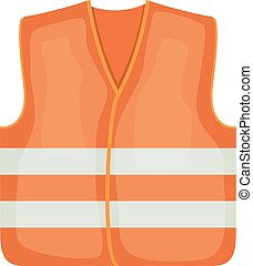 Vector illustration of an orange safety vest road worker, builder. Protective working clothes, orange vest. Cartoon style safety on a white background