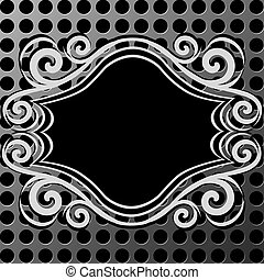 ornament frame on metal texture
