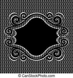 vector illustration of an ornament frame on net metal texture