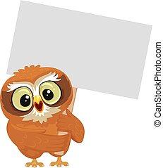 Owl holding blank Placard
