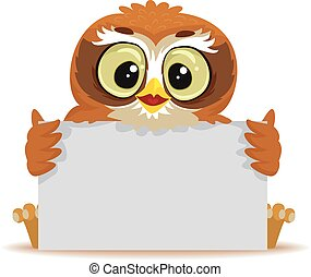Owl holding blank White Board