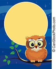 Owl sitting on the branch at Night
