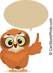 Owl with Speech Bubble - Vector Illustration of an Owl with...