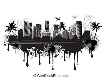 urban cityscape - vector illustration of an seastrand urban ...