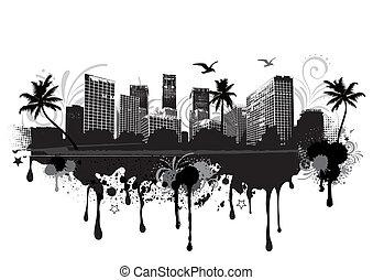 vector illustration of an seastrand urban cityscape
