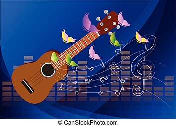 Vector illustration of an Ukulele with Music Notes ...