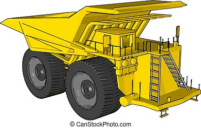 Vector illustration of an yellow dumper truck white background