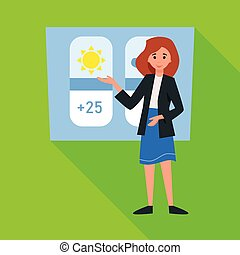 Vector illustration of anchorman and weather icon. Web ...