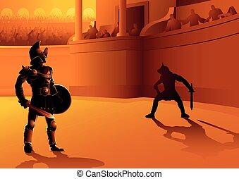 Rome gladiators in the arena - Vector illustration of ...