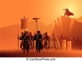 Rome legionaries march in the grass field