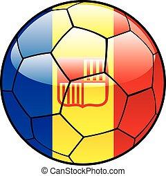 Andorra flag on soccer ball