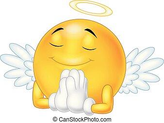 Angel emoticon isolated on white background
