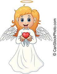 Angel hair blonde girl present a red heart - Vector...