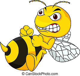 Vector illustration of Angry bee cartoon