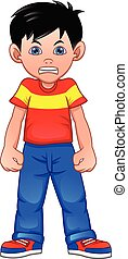 angry boy cartoon on a white background