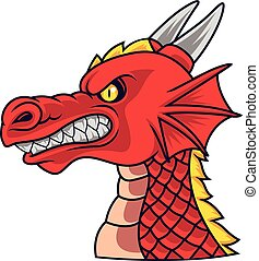 Angry dragon head mascot